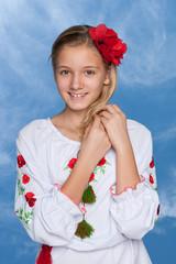 Ukrainian girl against the sky