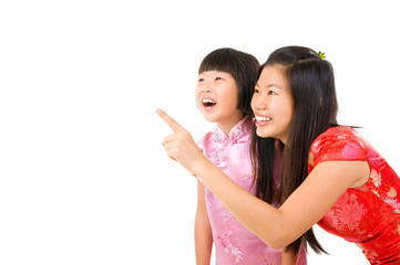 chinese mother and daughter in oriental costume, cheongsam