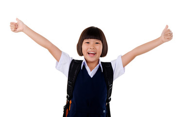 Primary school girl stretching her arms