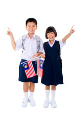 School kids holding flags pointing fingers