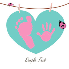 Baby hand and feet prints with heart and ladybird greeting card