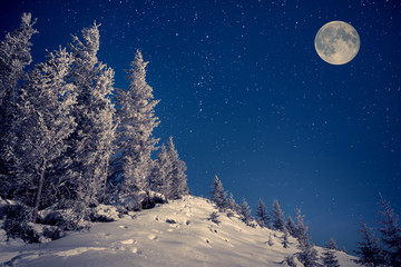 ull moon in night sky in the winter mountains