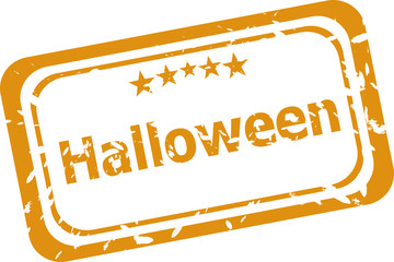 Scary Halloween discounts graphic design label on white