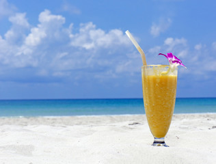 Refreshing cocktail on tropical beach