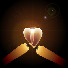 Candle light heart mark fire illustration