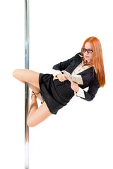 redhead business pole dancer