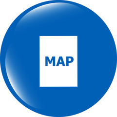 map icon web button isolated on white background