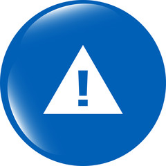 glossy web button with attention warning sign