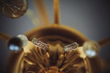 Wedding rings before wedding ceremony