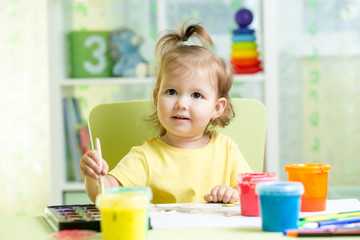kid painting at home