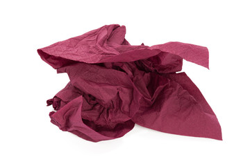Crumpled purple napkin