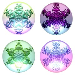 Decorative globes with snowflakes