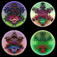 Ornamental snowflakes in glass spheres