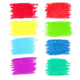 Fototapety Set of pastel crayon spots, isolated on white background