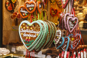 Traditional Christmas gingerbread hearts, Austria.