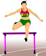 Woman running hurdles. Vector illustartion