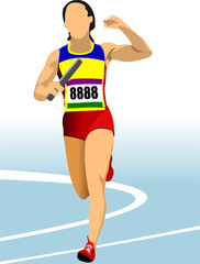 Short-distance runner. Relay. Vector illustration