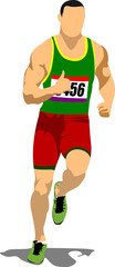 Long-distance runner. Short-distance runner. Vector illustration