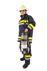 Fireman in uniform isolated in white