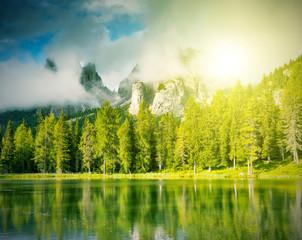 magic lake in mountain