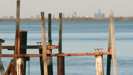 Old Docks on Detroit River Skyline South