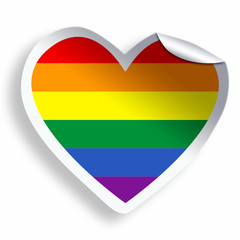 Heart sticker with colorful LGBT flag isolated on white