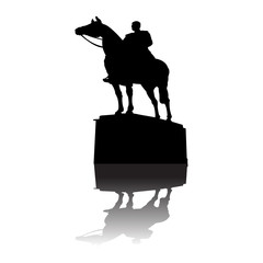 Serbian warior on horse monument vector
