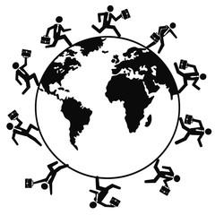 business people running around the world