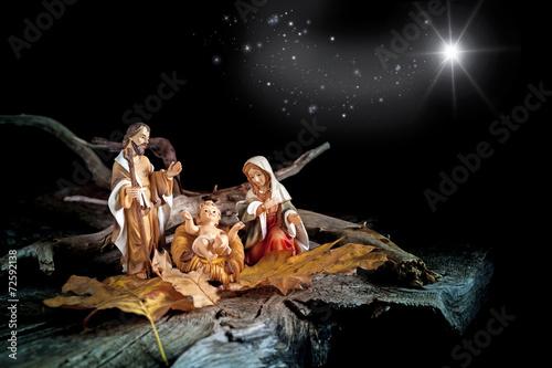 Leinwanddruck Bild Natività con stella cometa
