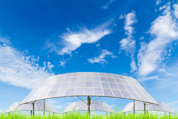 Solar panels on green grass field against blue sky background