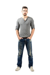 Handsome posing man in casual clothes