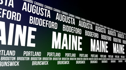 Maine State and Major Cities Scrolling Banner