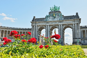 Triumphal Arch in Cinquantenaire Park in Brussels