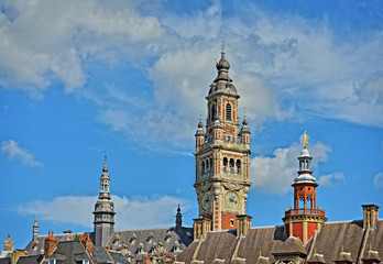 Clock tower of Chamber of Commerce of city Lille