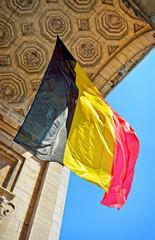 Belgian flag in Triumphal Arch in Cinquantenaire Park