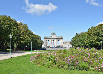 Cinquantenaire Parc in Brussels in bright summer day