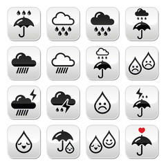 Rain, thunderstorm, heavy clouds  vector buttons set