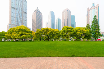 Shanghai, China, modern skyscrapers and green environment