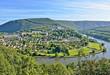 Leinwandbild Motiv Panorama of Revin, a small town on river Meuse