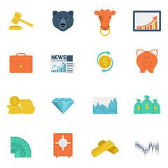Finance exchange icons flat