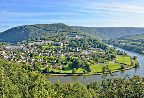 Papiers peints Riviere Panorama of Revin, a small town on river Meuse