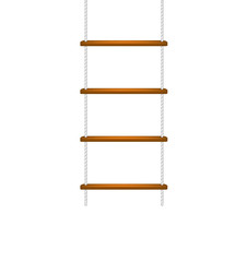 Wooden rope ladder with white rope