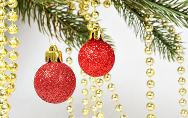 Christmas tree decorations balls and beads