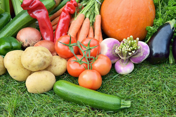 Autumn vegetables tomatoes, potatoes, carrots