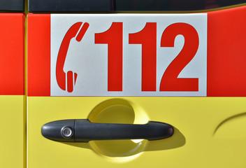 Door of vehicle with European Emergency Number