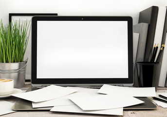 modern laptop template, workspace mock up, background