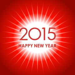 happy new year 2015 in light ray pattern on red background
