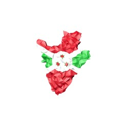 Low Poly Burundi Map with National Flag