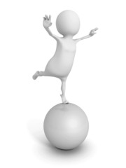 white 3d man balance on big shiny sphere
