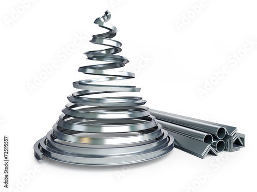 Leinwandbild Motiv Christmas tree metal on a white background